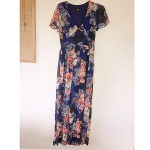 ASOS Purple floral maxi dress Size 4